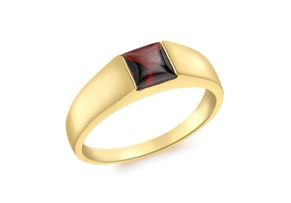 9ct Yellow Gold Square Garnet Dress Ring