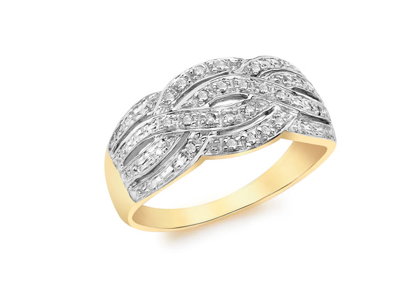 9ct Yellow Gold 0.10ct Diamond Set Woven Ring