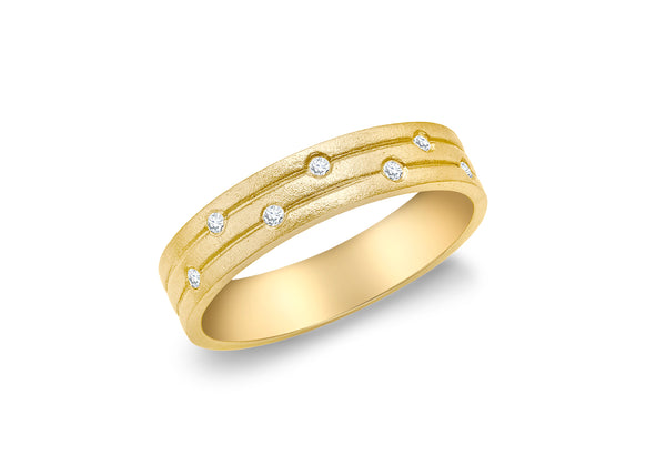 9ct Yellow Gold Satin 0.05t Diamond Band Ring