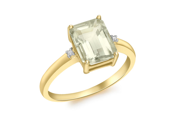 9ct Yellow Gold 0.01t Diamond and Green Amethyst Rectangular Ring