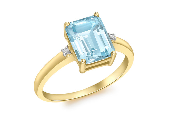 9ct Yellow Gold 0.01t Diamond and Blue Topaz Rectangular Ring