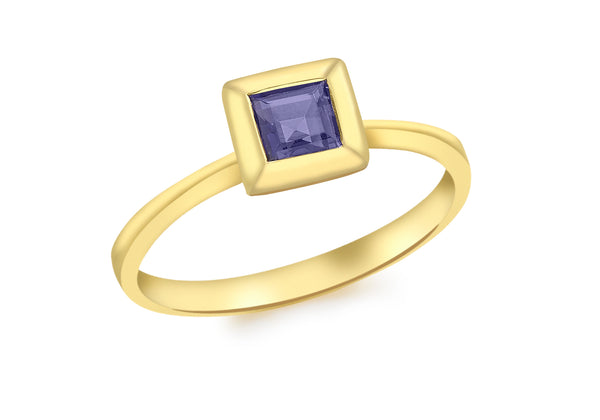 9ct Yellow Gold Square Iolite Ring