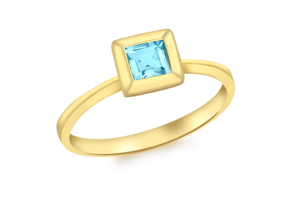 9ct Yellow Gold Square Blue Topaz Ring
