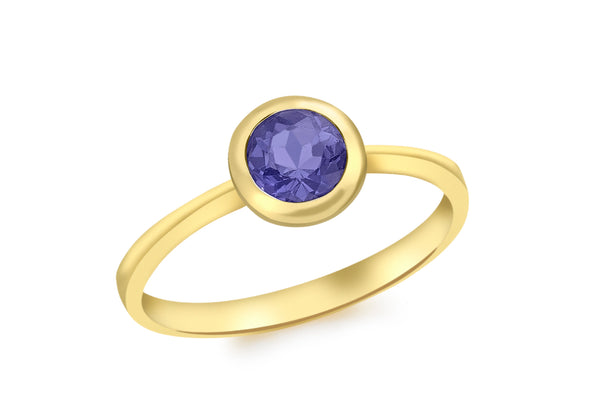 9ct Yellow Gold Round Iolite Ring