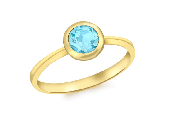 9ct Yellow Gold Round Blue Swiss Topaz Ring