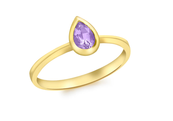 9ct Yellow Gold Teardrop Amethyst Ring