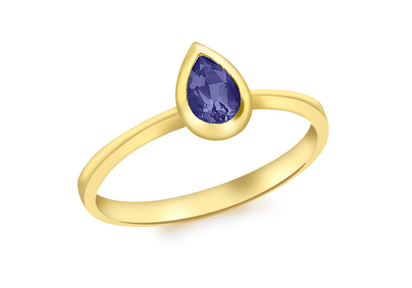 9ct Yellow Gold Teardrop Iolite Ring