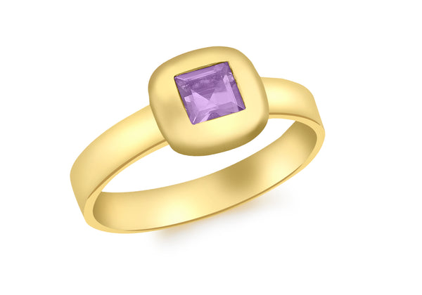 9ct Yellow Gold Square Amethyst Ring