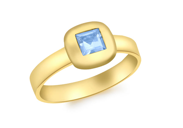 9ct Yellow Gold Square Blue Swiss Topaz Ring