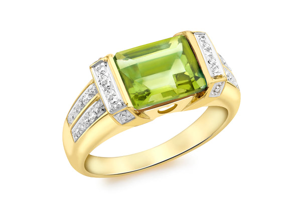 9ct Yellow Gold 0.04t Diamond and Peridot Ring
