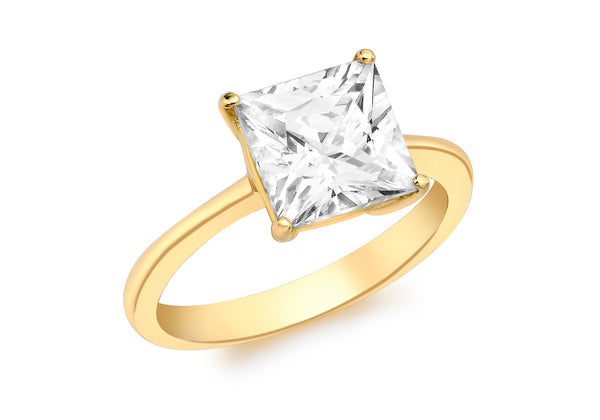 9ct Yellow Gold Square Zirconia  Ring