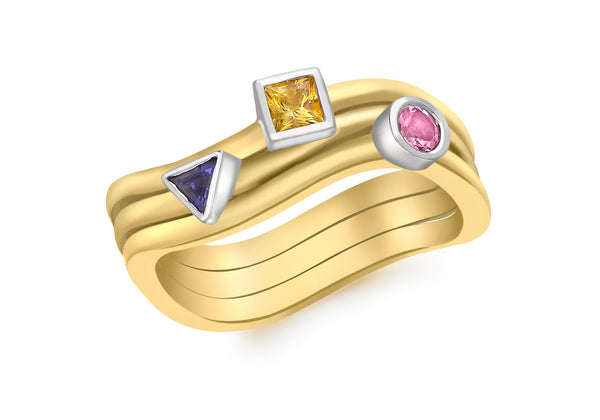 9ct Yellow Gold Tourmaline and Lolite Stacking Rings