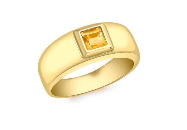 9ct Yellow Gold Square Citrine Ring
