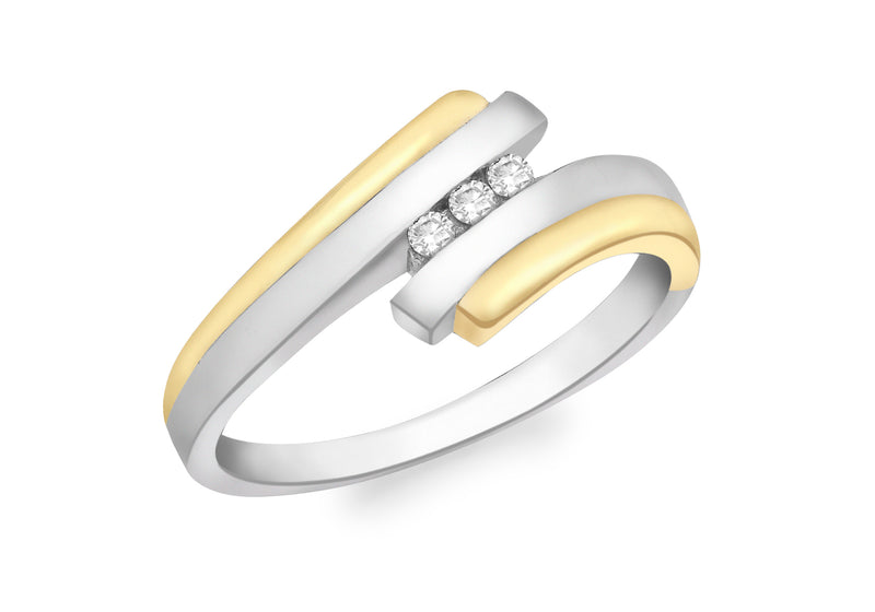 9ct 2-Colour Gold 0.06t Diamond 3-Stone Ring