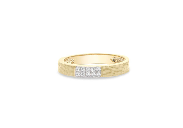 9ct Gold 0.10ct Diamond Paved Hammered Band Ring