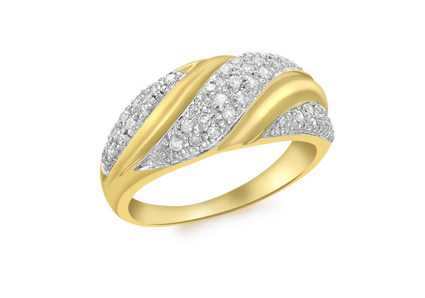 9ct Yellow Gold 0.31t Pave Diamond Twist Ring