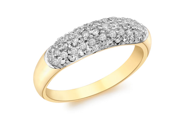 9ct Yellow Gold 0.25t Pave Set Diamond Ring