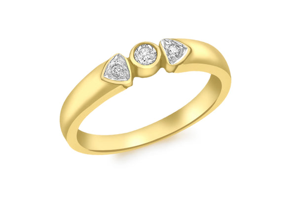 9ct Yellow Gold 1.10t Diamond 3-Stone Ring