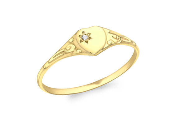 9ct Yellow Gold 0.005t Diamond Heart Child's Signet Ring
