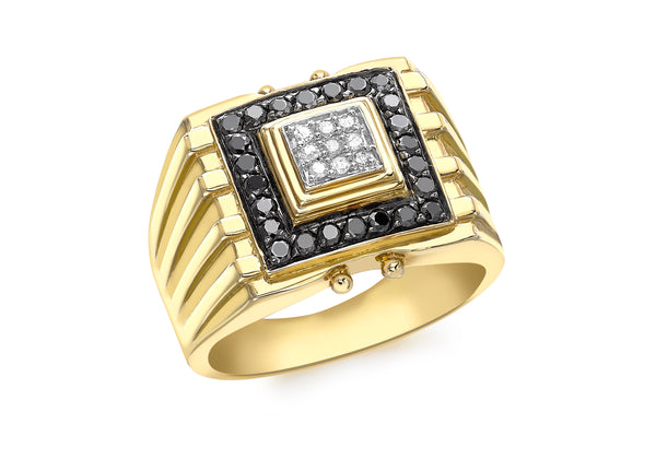 9ct Yellow Gold 0.35t Black and White Diamond Men's Ring