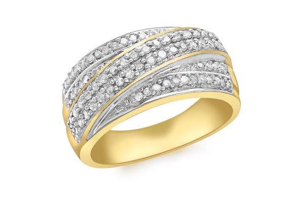 9ct Yellow Gold 0.50ct Pave Set Diamond Crossover Ring