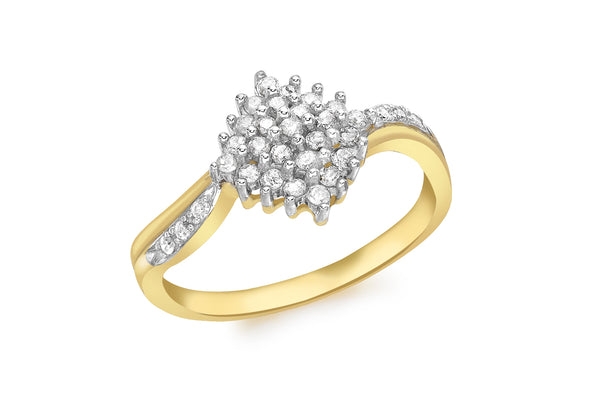 9ct Yellow Gold 0.34t Diamond Cluster Ring
