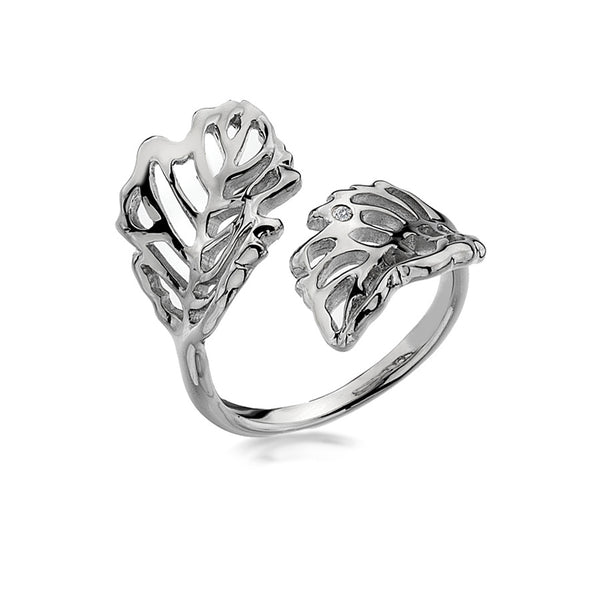 Leaf Ring Hand-Set With A Diamond Accent