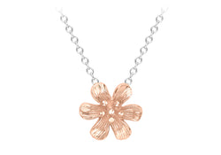 9ct 2-Colour Gold Flower Necklace
