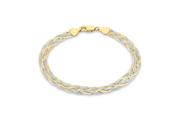 "9ct 2-Colour Gold 6-Plait Textured Herringbone Bracelet 18m/7""9"