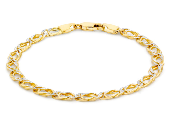 "9ct 2-Colour Gold Textured Double Curb Bracelet 18m/7""9"