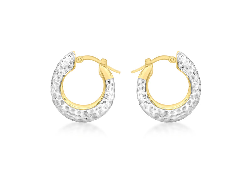 9ct 2-Tone Gold Textured Eletroform Hoop Earrings