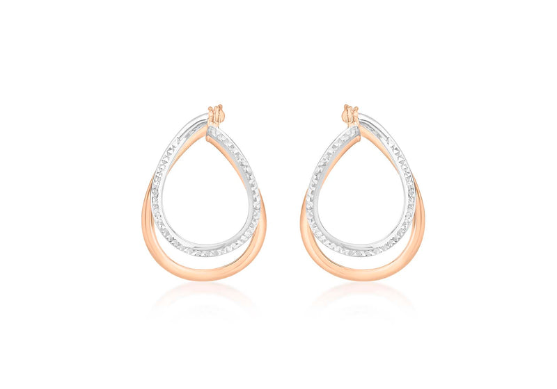 9ct 2-Colour Gold Diamond Cut Front-Faing Double Oval Hoop Earrings