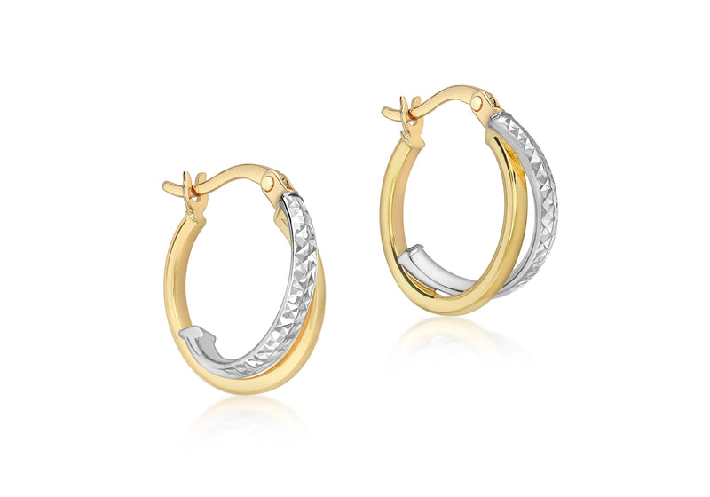 9ct 2-Colour Gold Crossover Diamond Cut and Plain 16mm Creole Earrings