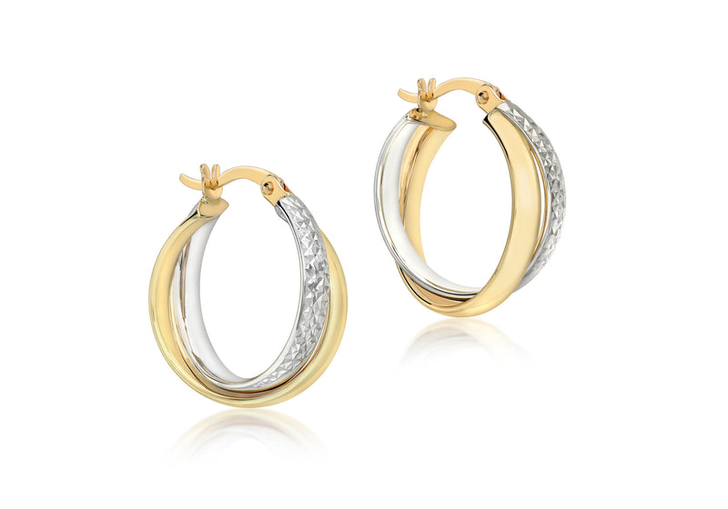 9ct 2-Colour Gold Crossover Diamond Cut and Plain 18mm Creole Earrings