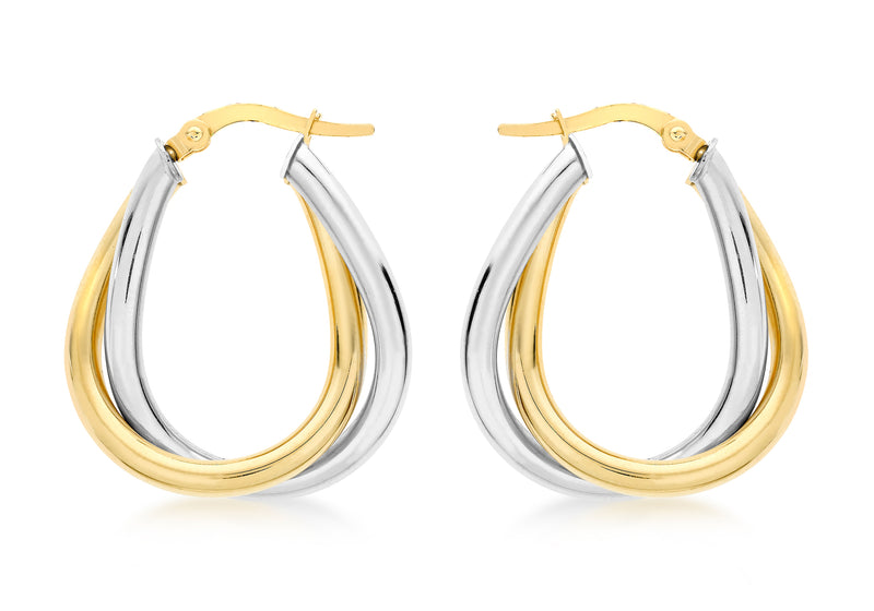 9ct 2-Colour Gold Twined Creole Earrings