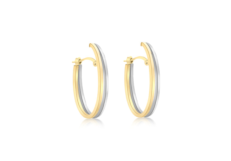 9ct 2-Colour Gold Double Oval Huggy Earrings