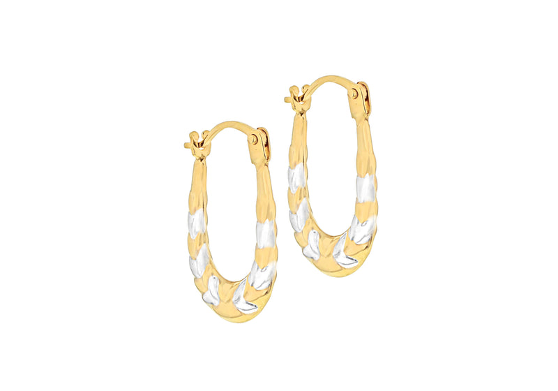 9ct 2-Colour Gold Patterned Kiss Creole Earrings
