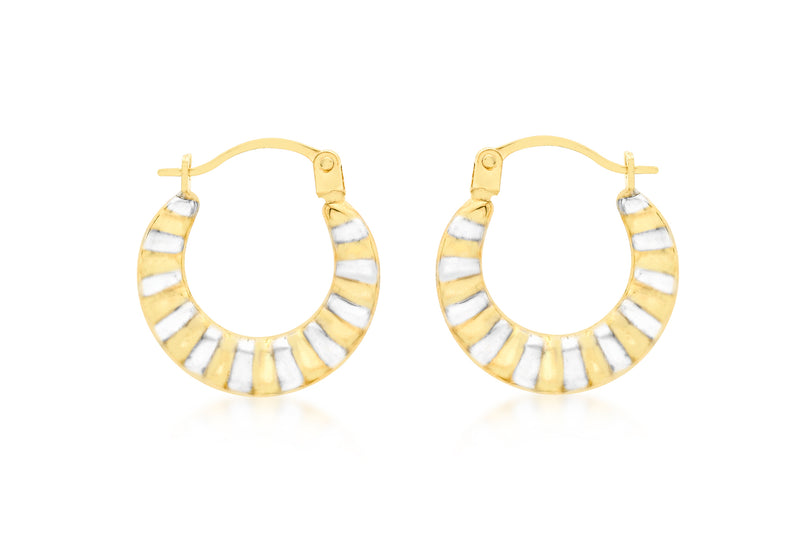 9ct 2-Colour Gold Ribbed Creole Earrings