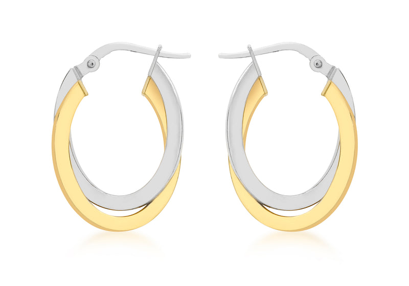 9ct 2-Colour Gold 16mm x 24mm Oval Crossover Creole Earrings