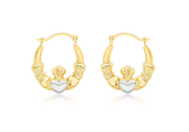 9ct 2-Colour Gold Claddagh Creole Earrings