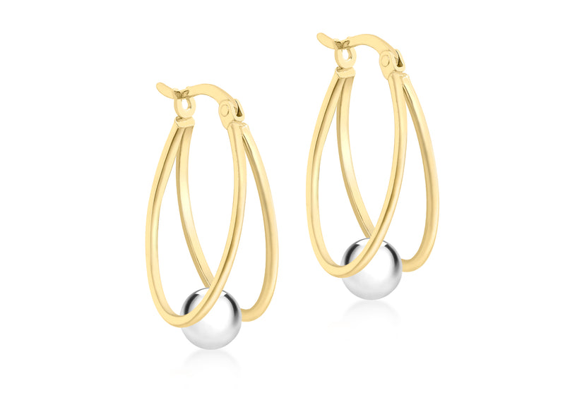 9ct 2-Colour Gold Double Loop and Ball Creole Earrings