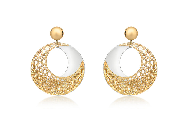 9ct 2-Colour Gold Round Fretwork Drop Earrings