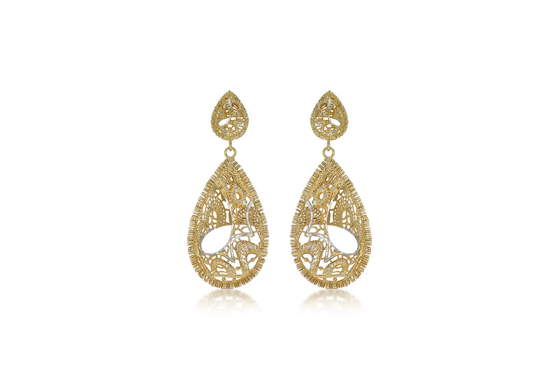 9ct 2-Tone Gold 19.6mm x 47.5mm Diamond Cut Lace-Style Teardrop Earrings