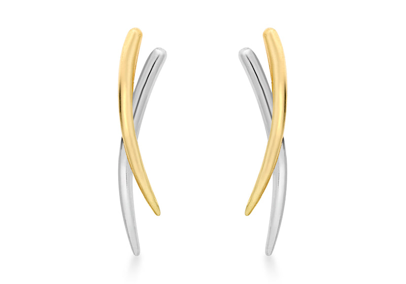 9ct 2-Colour Gold Crossover Earrings