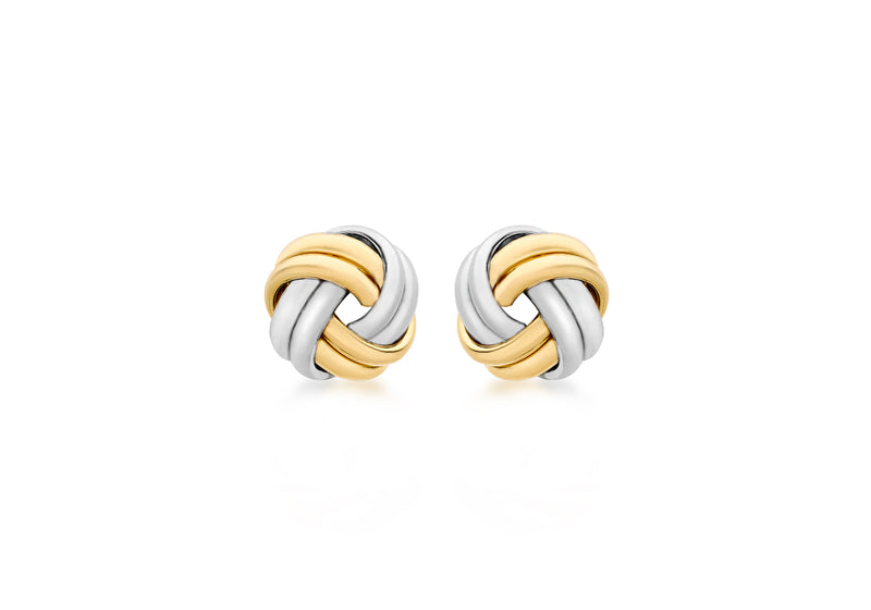 9ct 2-Colour Gold 8mm Knot Stud Earrings