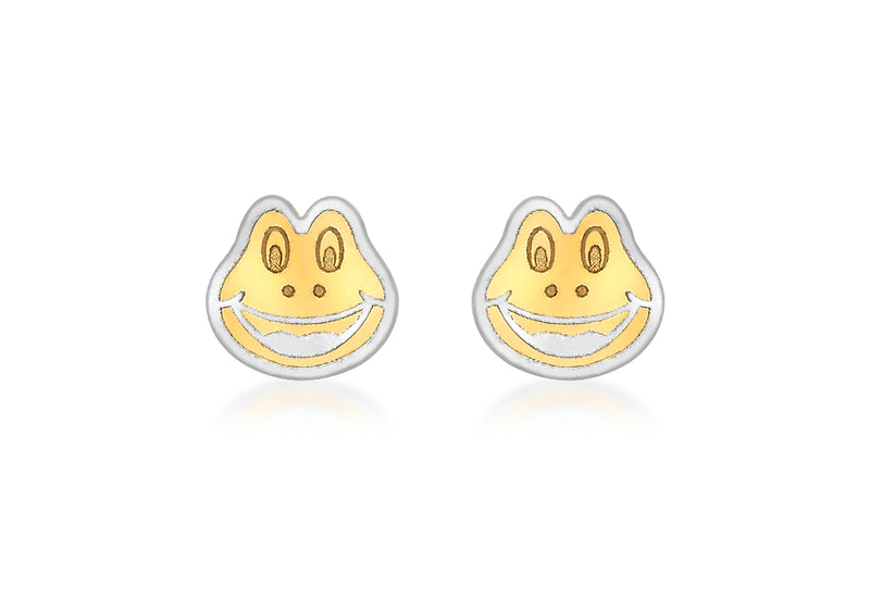 9ct 2-Colour Gold Frog Fae Stud Earrings