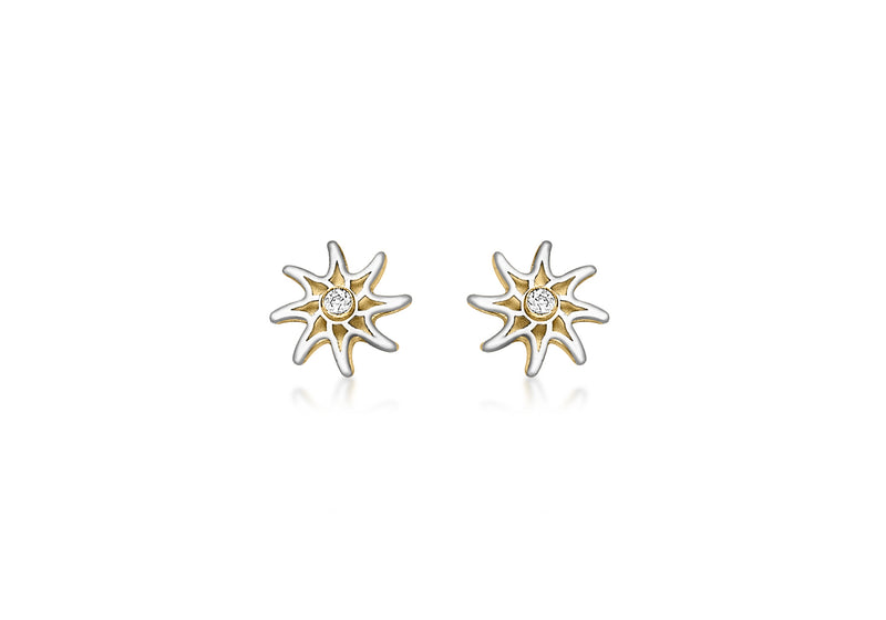 9ct 2-Colour Gold Star and Zirconia  Stud Earrings