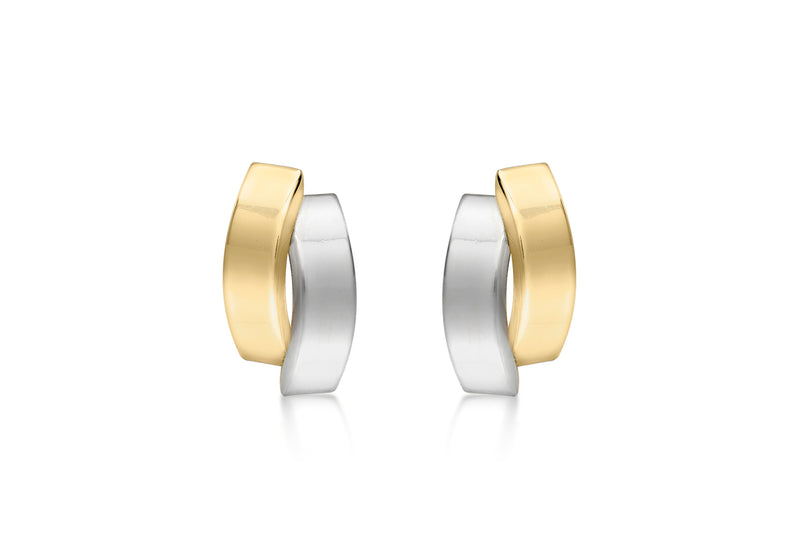 9ct 2-Tone Gold 6.5mm x 12mm Asymmetric Double-urved-Bars Stud Earrings