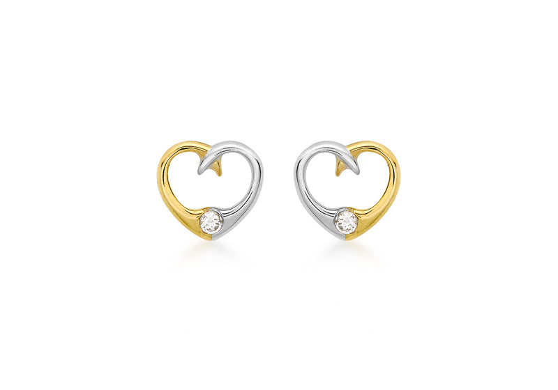 9ct 2-Colour Gold Zirconia  9mm x 8mm Heart Stud Earrings