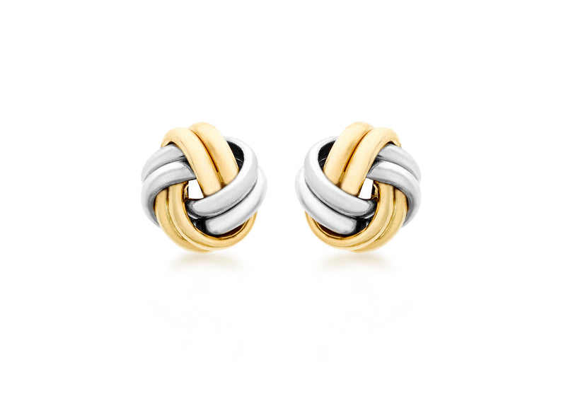 9ct 2-Colour Gold 9mm Knot Stud Earrings
